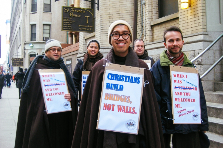Franciscan Friars walk for peace and justice in New York City, March 3, 2016.
